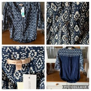 Blue printed button down top by Skies Are Blue.